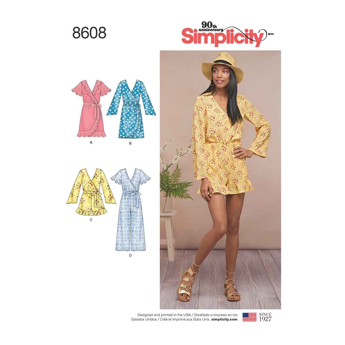 ef20d07ed6f491 Get Quotations · Simplicity Pattern 8608 Misses' Jumpsuit and Dress SIZE  6-14 SEWING PATTERN