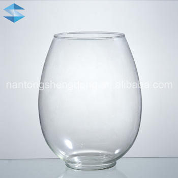 Flat Round Oval Clear Glass Vase Buy Oval Glass Vaseclear Glass