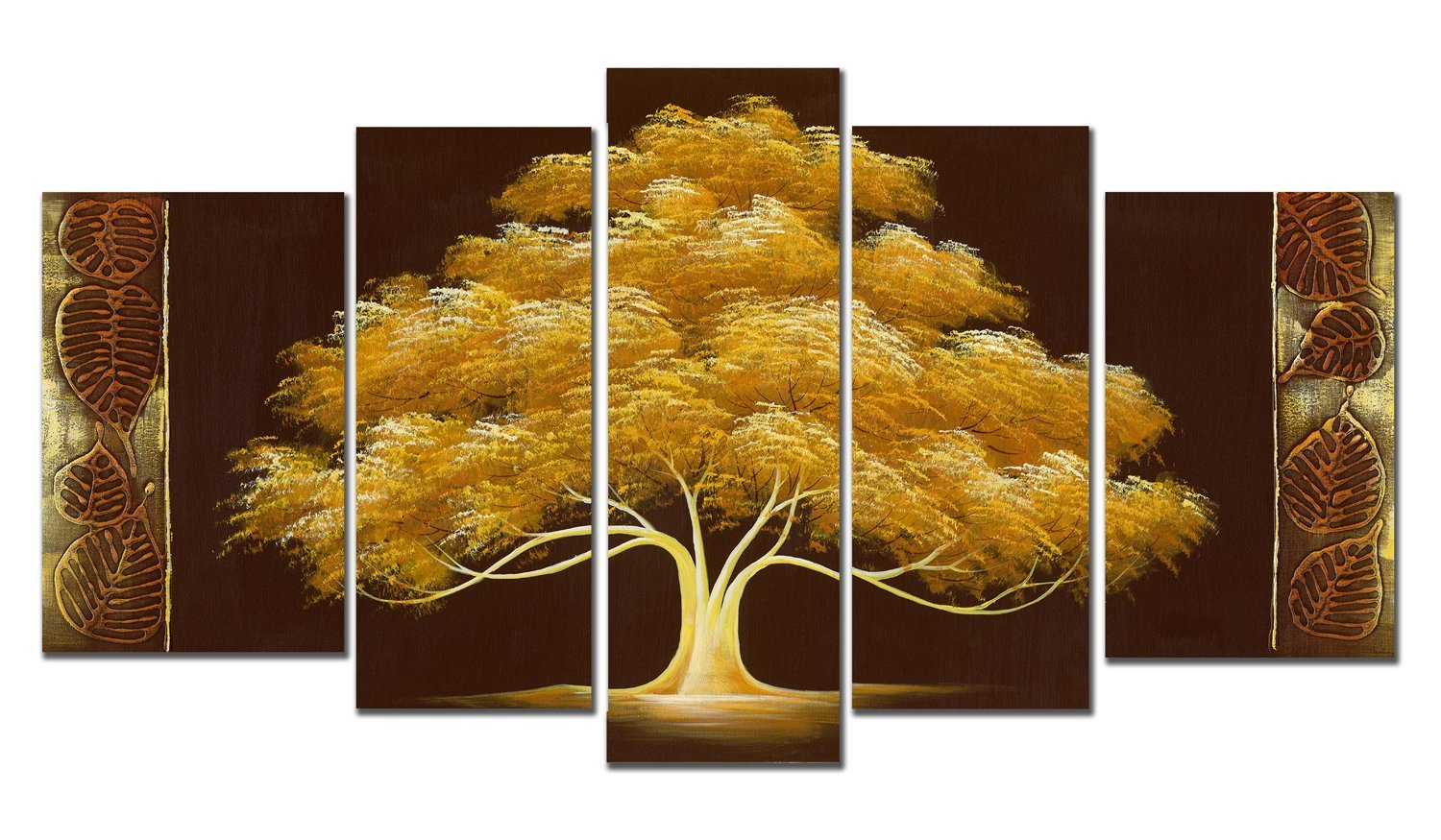 Get Quotations · Wieco Art   Golden Tree 5 Piece Modern Flowers Artwork  100% Hand Painted Abstract Contemporary