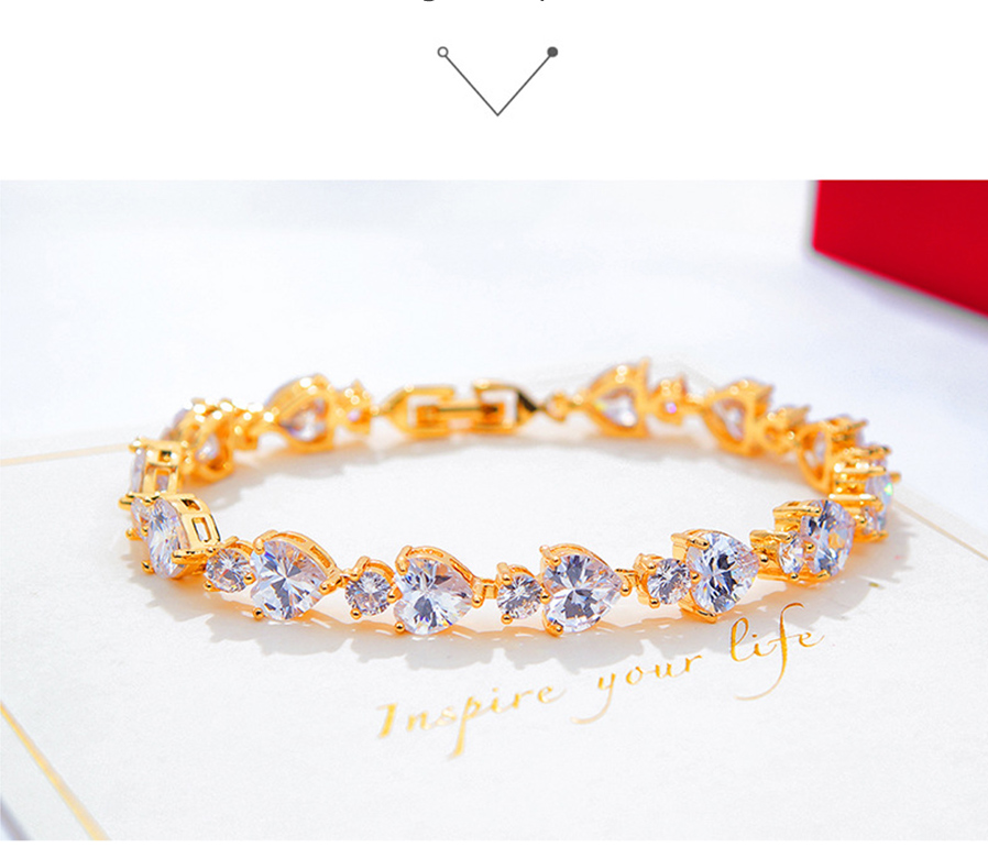 18k Imitation Gold Heart Shaped Colored Diamond Bracelet Female