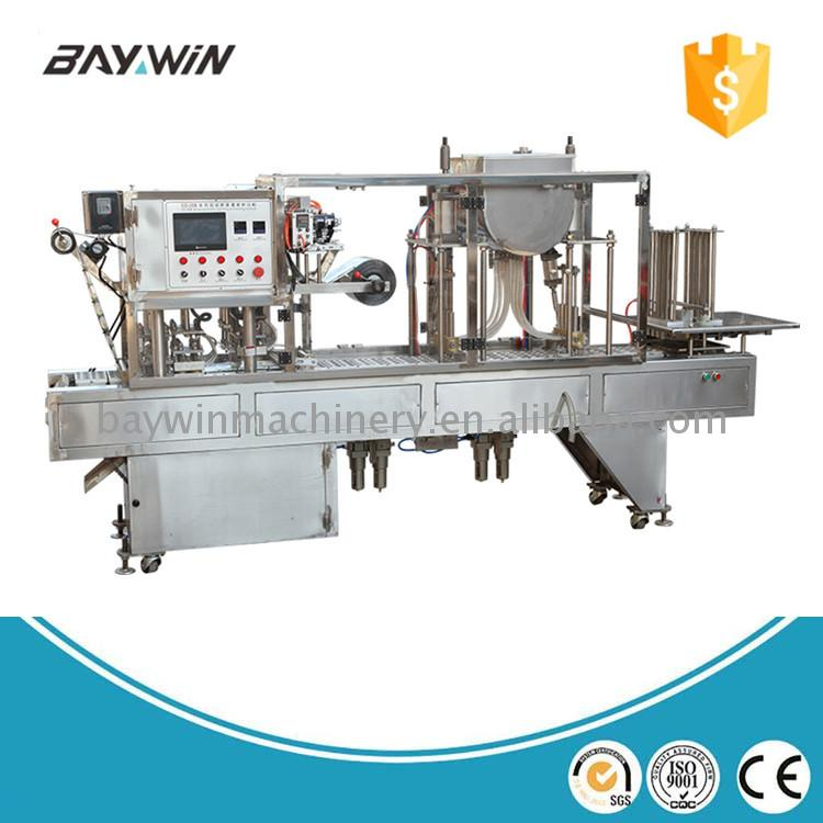 Plastic cup milk tea filling and sealing machine for
