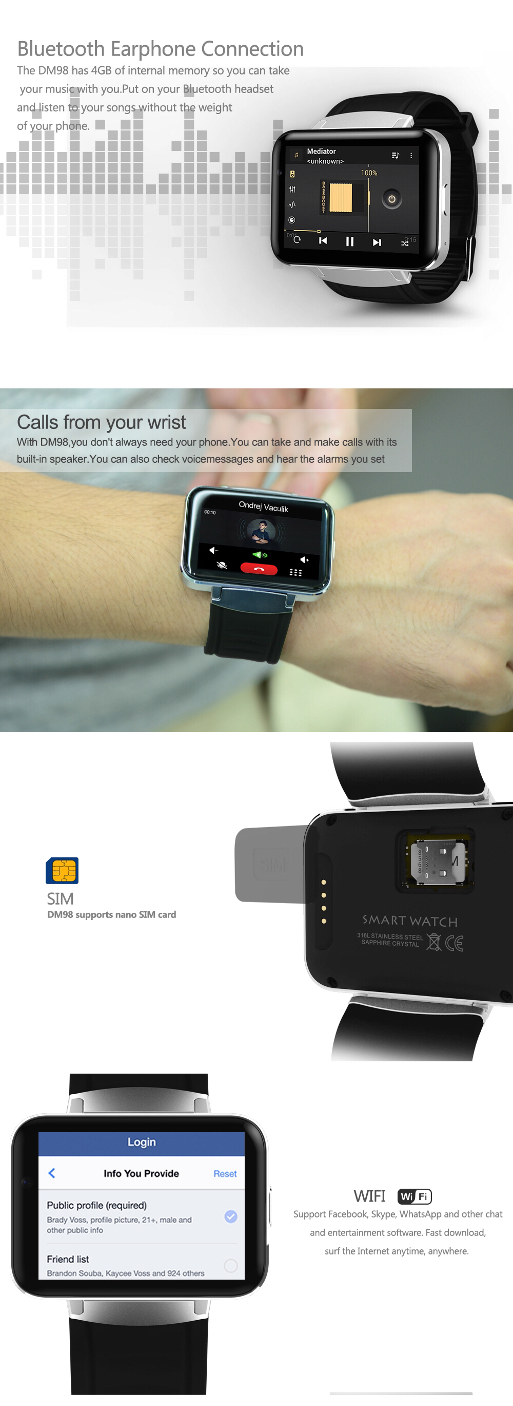 2 2 Inch Touch Screen Wristband GPS 3G WIFI Bracelet Android