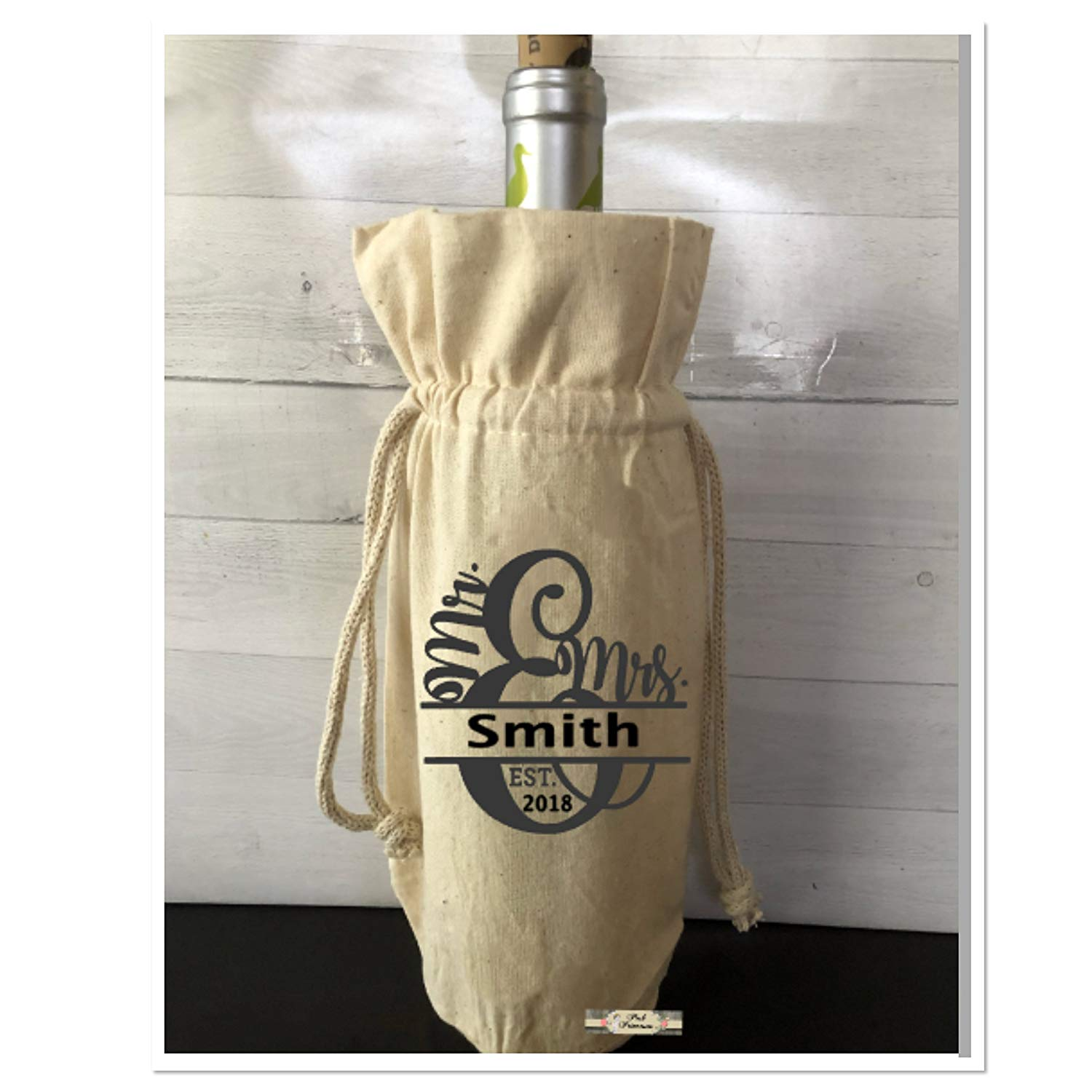 Get Quotations · Wine Bag, Hostess Gift, Wedding Gift, Farmhouse Style,  Personalized Drawstring Wine Bag 00c2b84db7