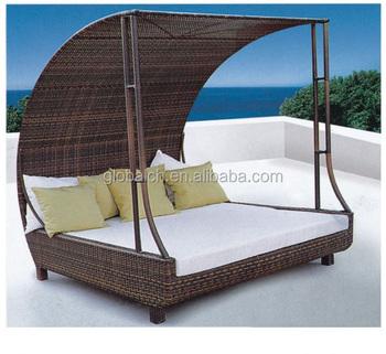 Attraktiv Bali Heißer Produkt Garten Möbel Rattan Runde Outdoor Lounge Bett Mit  Baldachin