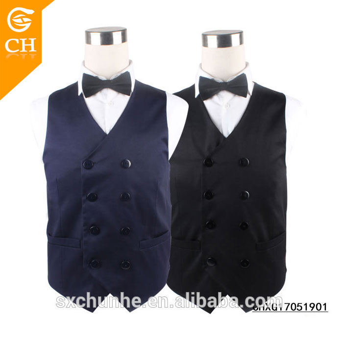Custom Size Color Double Breasted Cotton Waistcoat for Handsome Men