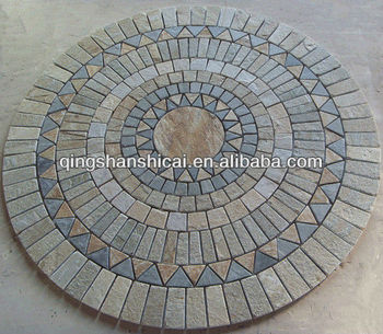 Round Multicolor Flooring Mosaic Tile Flower Patterns With Mesh Back Wall Panel
