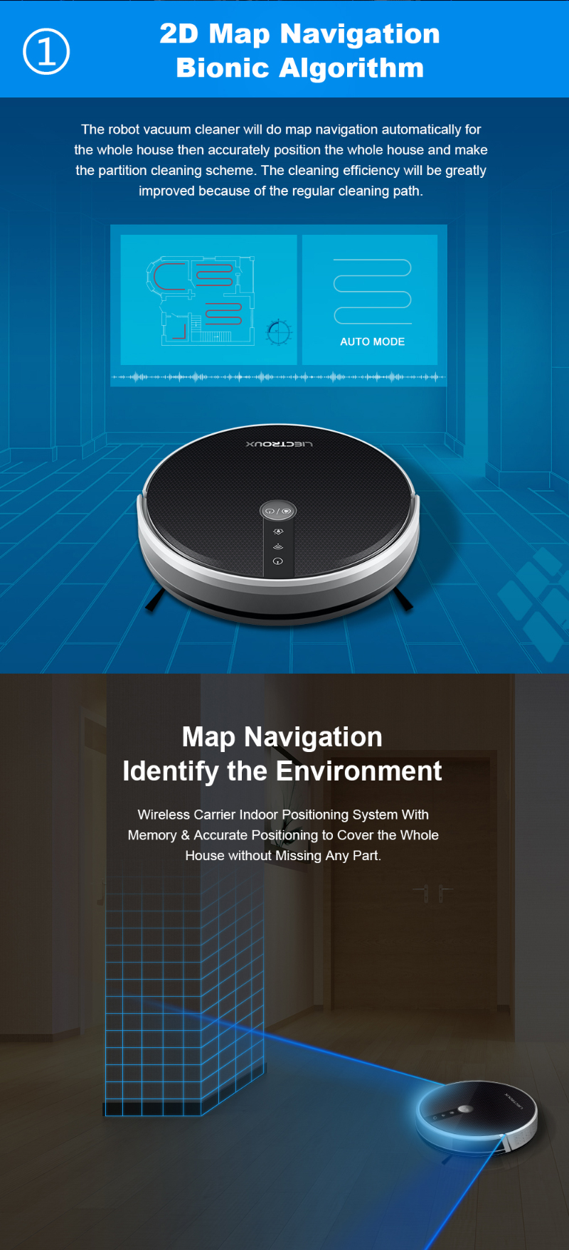 LIECTROUX C30B/E30 Robot Vacuum Cleaner with Map Navigation Strong Suction Electric Water Tank Thin and Light Design Silkscreen