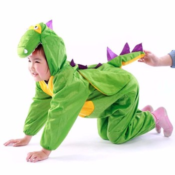 Carnival green stage performance kids cosplay animal sexy realistic dinosaur costume for sale