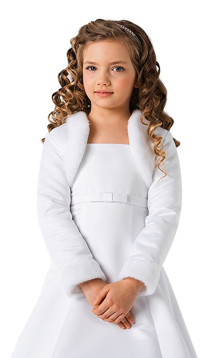 f0c0aeadb0776 Get Quotations · Lacey Bell Girls Communion Flower Girl Faux Fur Jacket  Bolero CJ101