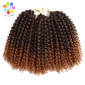 Hair Expo Mall 8-12inch Kinky Curly Crochet Hair Synthetic Braiding Hair Extensions Marleybob Crochet Braids 60 strands/pack