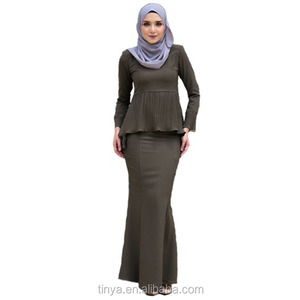 close-fitting Baju Kurung soft Malaysia Peplum Islamic Clothing Muslim Dress