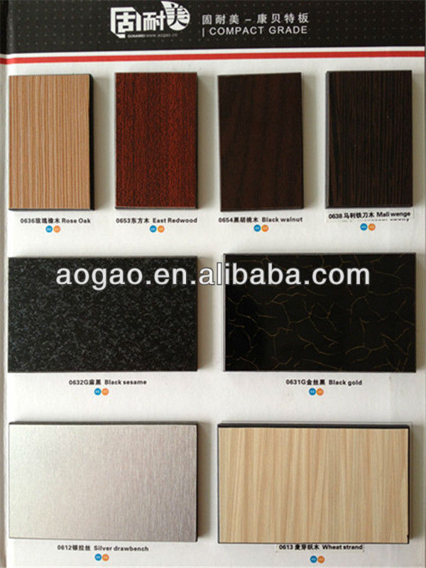Aogao high pressure HPL 12mm Compact laminate