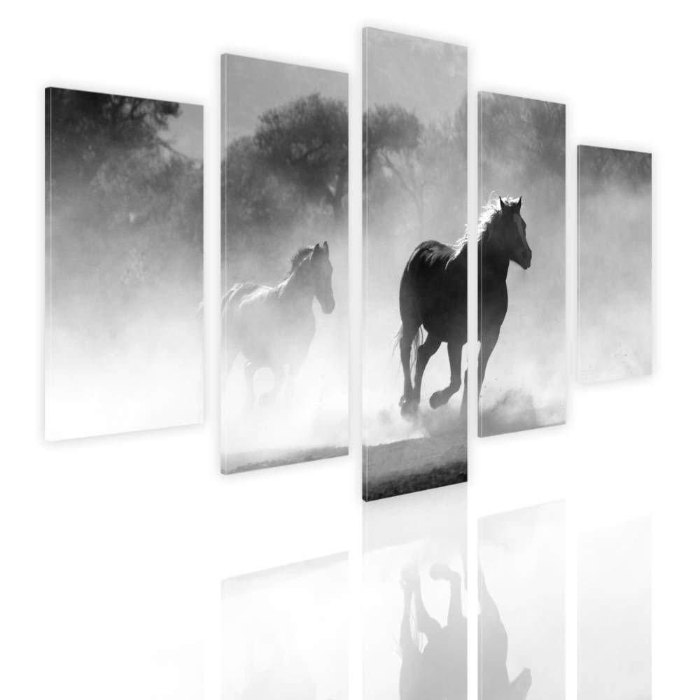 "Alonline Art - Wild Horse Running Split 5 Panels FRAMED STRETCHED CANVAS (100% Cotton) Gallery Wrapped - READY TO HANG | 48""x32"" - 122x81cm | 5 Panels multi Framed Paints Framed Art Framed Artwork"