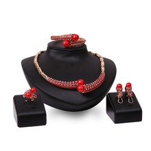 Necklace earrings bracelet ring set ladies party alloy four - piece factory direct
