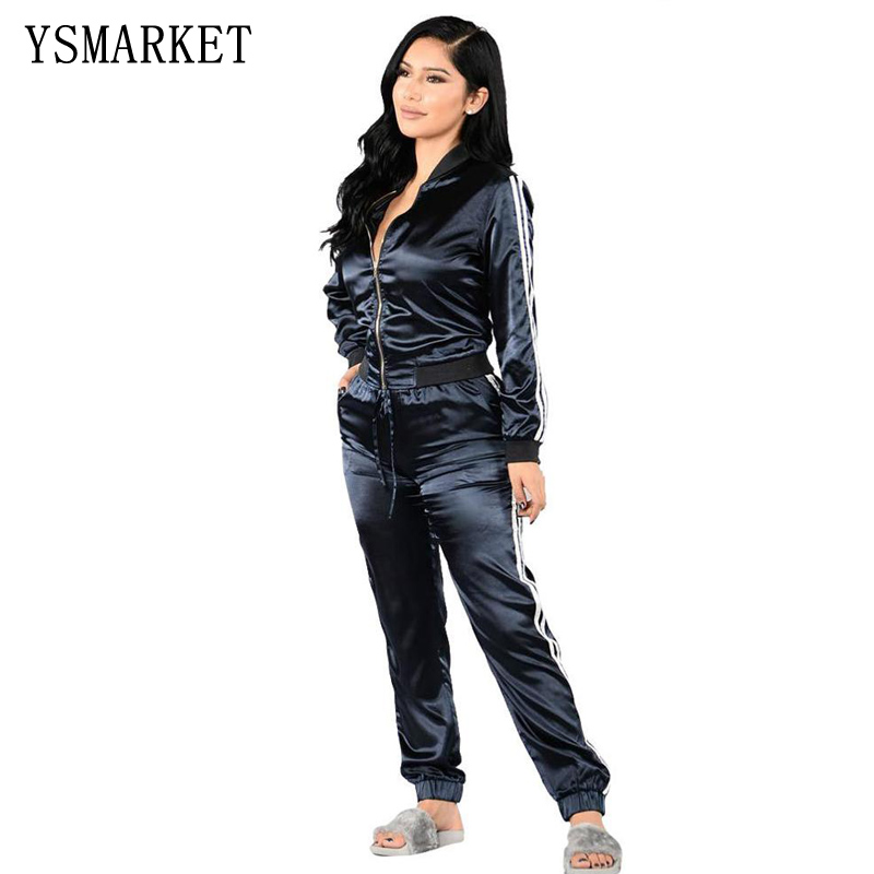 Casual Outdoor Women's Long Sleeve Striped Leisure Velour Zipper Up 2 Pieces Sport Tracksuit Set Sweatsuit With Pocket