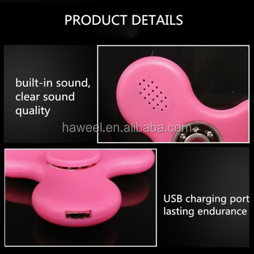 Wholesale high quality Bluetooth V4.0 Speaker Glowing Fidget Spinner Toy with RGB LED Light for Children