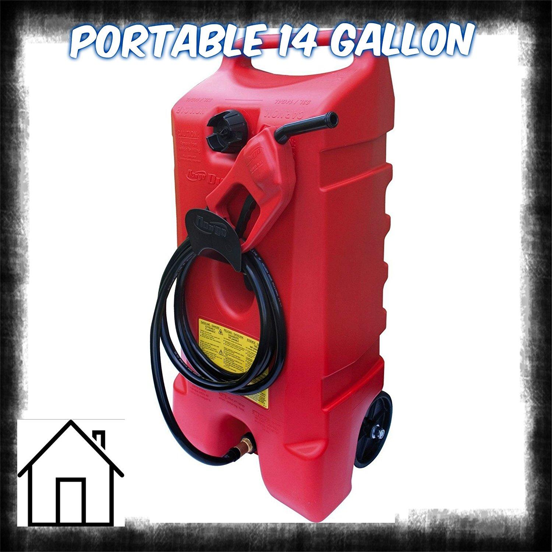 Portable Fuel Gas Tank Storage Shop 14 Gallon Fluid Transfer Pump Gasoline Diesel Kerosene - House Deals@