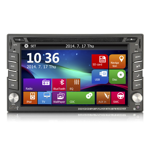 Universal 6.2 inch touch screen car dvd vcd mp3 mp4 player with DVD VCD Radio Bluetooth GPS for Hyundai Avante XD 2000-2006