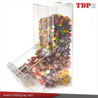 4 Gallon Wholesales wall mounted supermarket plastic mini bulk candy dispenser Acrylic Candy Bin with Scoop Holder, Magnetic Lid