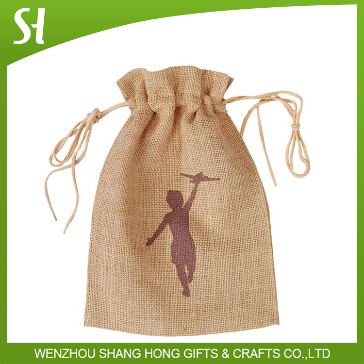 Wholesale Custom logo printed fancy natural small drawstring cotton jute bag sack pouch for promotion gift candy chocolate