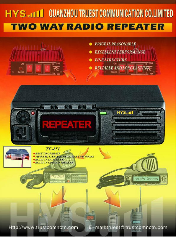 good quality and durable Mini duplex UHF vehicle repeater made in China UHF repeater TC-851