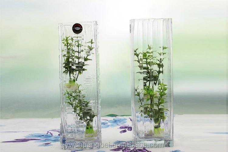 haute qualité carré piliers grand vase en verre transparent