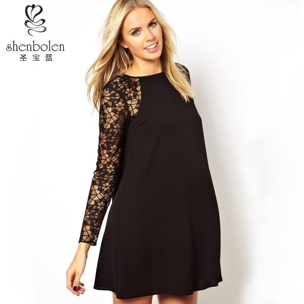 M3147 Evening Dresses For Pregnant Women Elegant Black Lace Knee ...