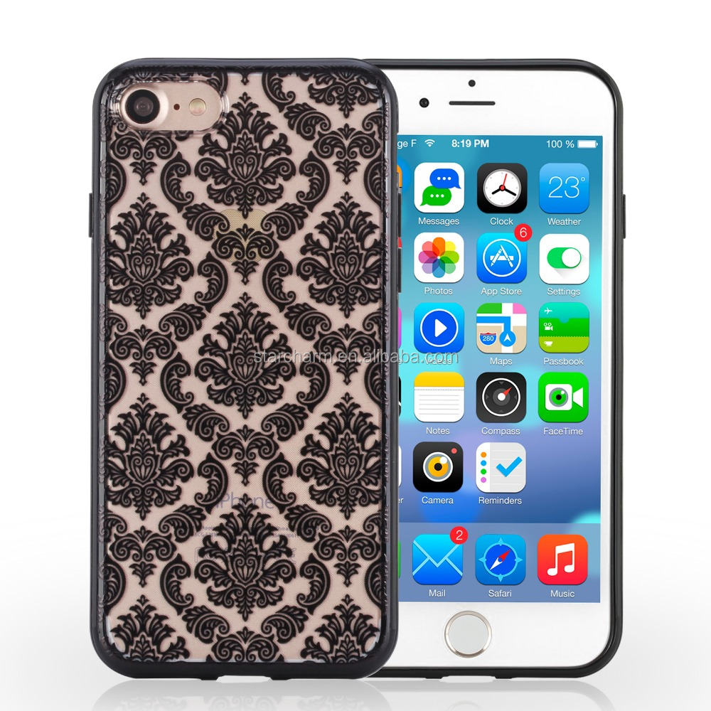 2016 British style Damask Vintage Pattern Slim Fit Matte Transparent Cell Phone Case for iphone 7 7plus