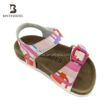 2ef115d9829d61 Floral Print Kids Sandals New Summer Princess Girls Shoes Fashion Cork  Children Slipper Soft Sole PU