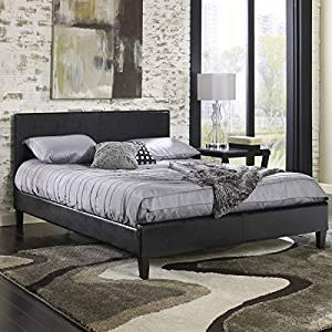 Get Quotations · Queen Size Duncansland Upholstered Solid Wood Leather  Platform Bed Frame W Headboard U0026 Reviews