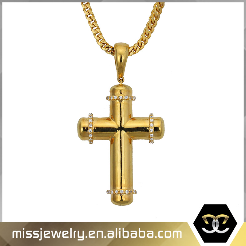 Wholesale latest gold pendant designs 18k real gold cross ankh jewelry pendants