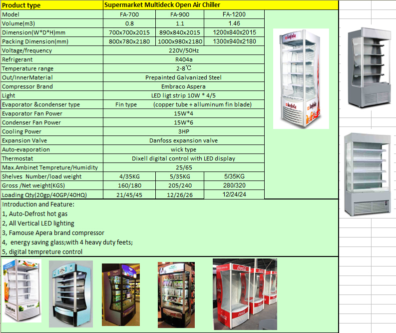 supermarket Multideck open display refrigerator