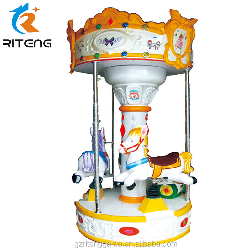Indoor amusement park 3 players small carousel rides