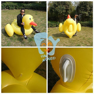 Funny outdoor adult swim fabric with rubber inflatable duck lie low