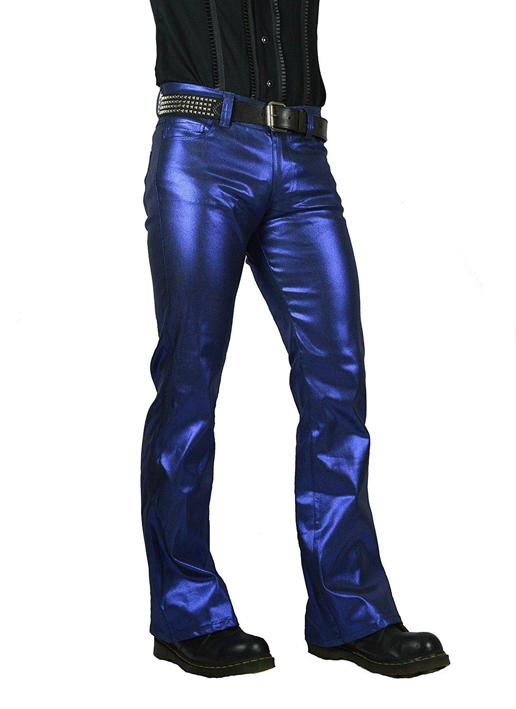 6d29e02d797375 Get Quotations · Shrine Classic Blue Metallic Gothic Goth Metal Steampunk  Rave Biker Jeans Pants