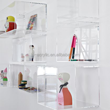 Clear Acrylic Customized Lucite Hanging Wall Book Floating Shelf Mount Cube Shelves Mounted