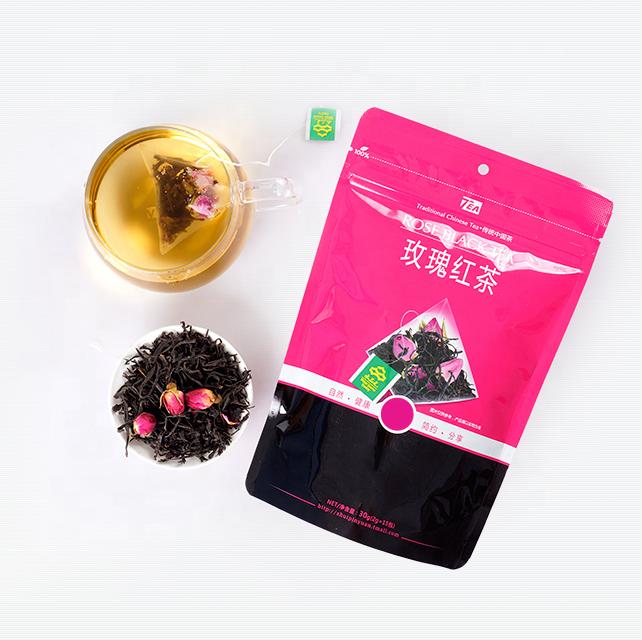 100% pure flavored blend tea bag triangle teabag pyramid tea bag rose black tea - 4uTea | 4uTea.com