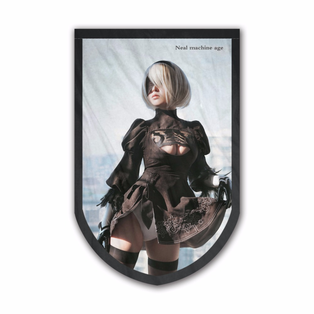 New Arrival 2017 Hanging Decor NieR Automata Celebrities Banner Fabric Tapestry Custom Printed Flags