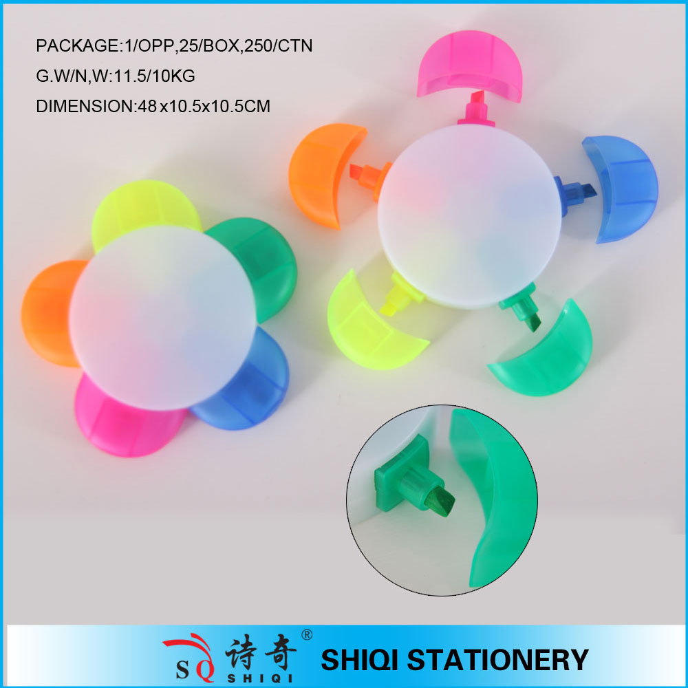 5 in 1 colorful flower shape plastic highlighters