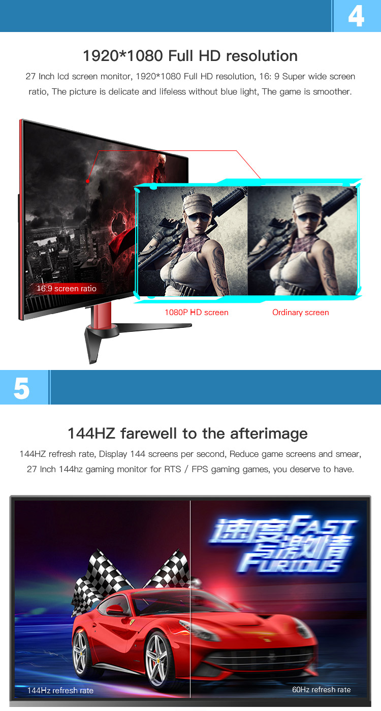 Support OEM ODM Full Color 16.7M 1920*1080P LED 144 hz Gaming Monitor
