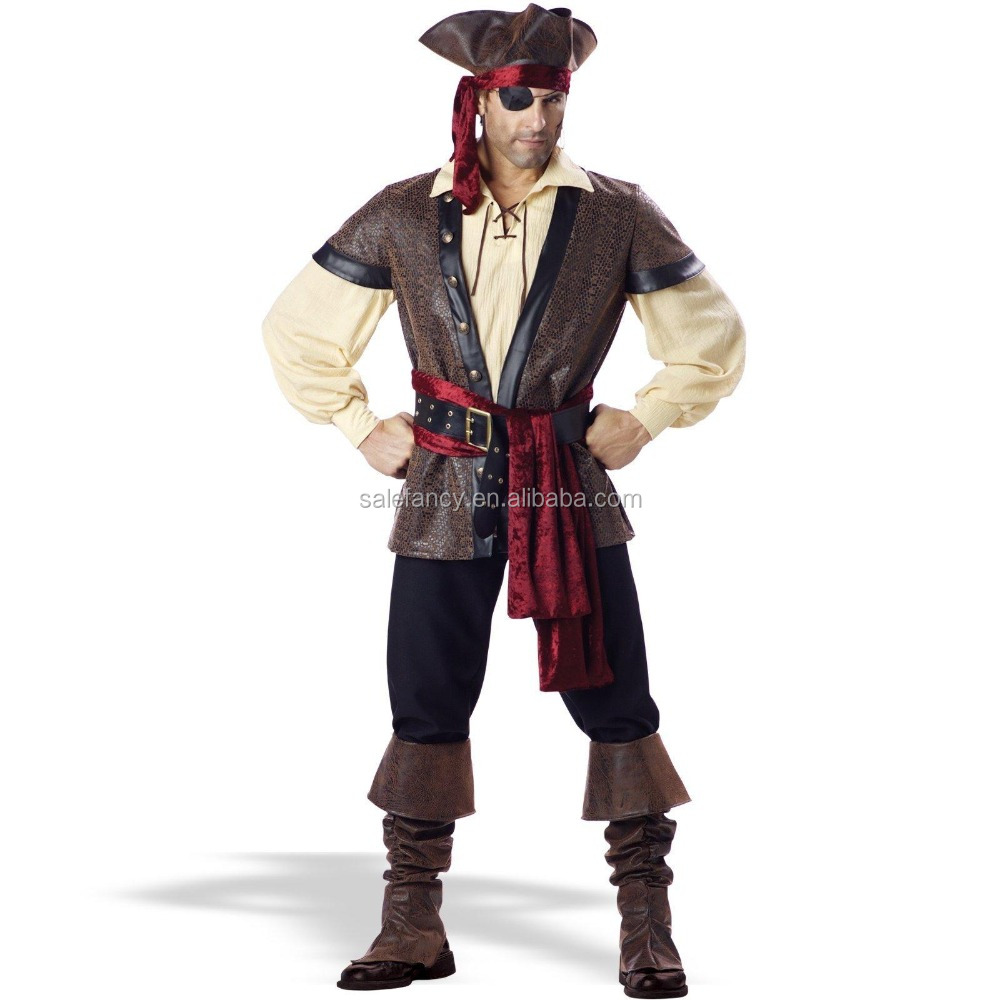 Top quality jack sparrow pirate costume Male good quality hot sale men halloween costume QAMC-9280