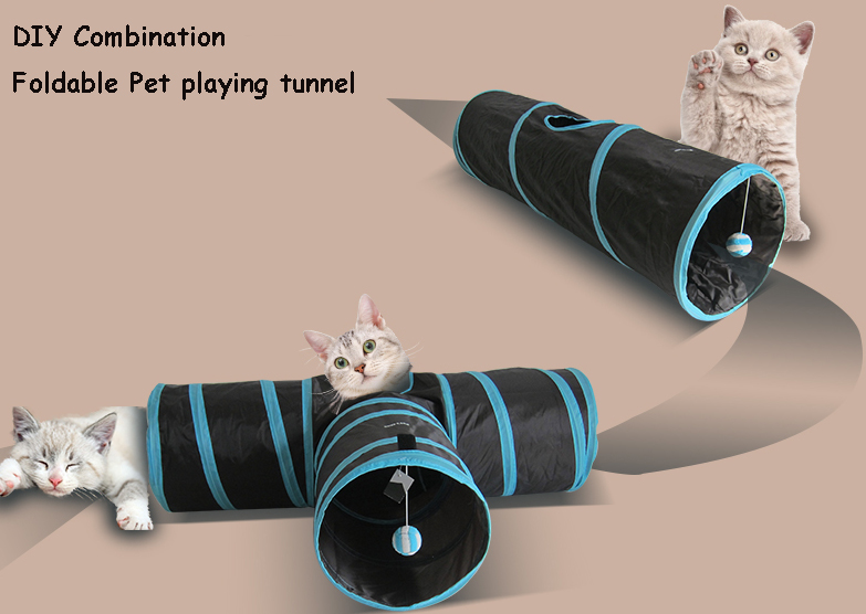 Factory Price 3-way Collapsible Funny Cat Tunnel lidl Tunnel