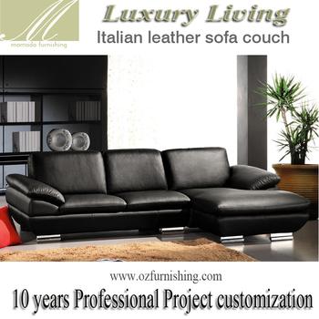 Dz269 Modern Luxury Italy Black Genuine Full Leather Italian Style Living Room L Shape Sectional Sofa