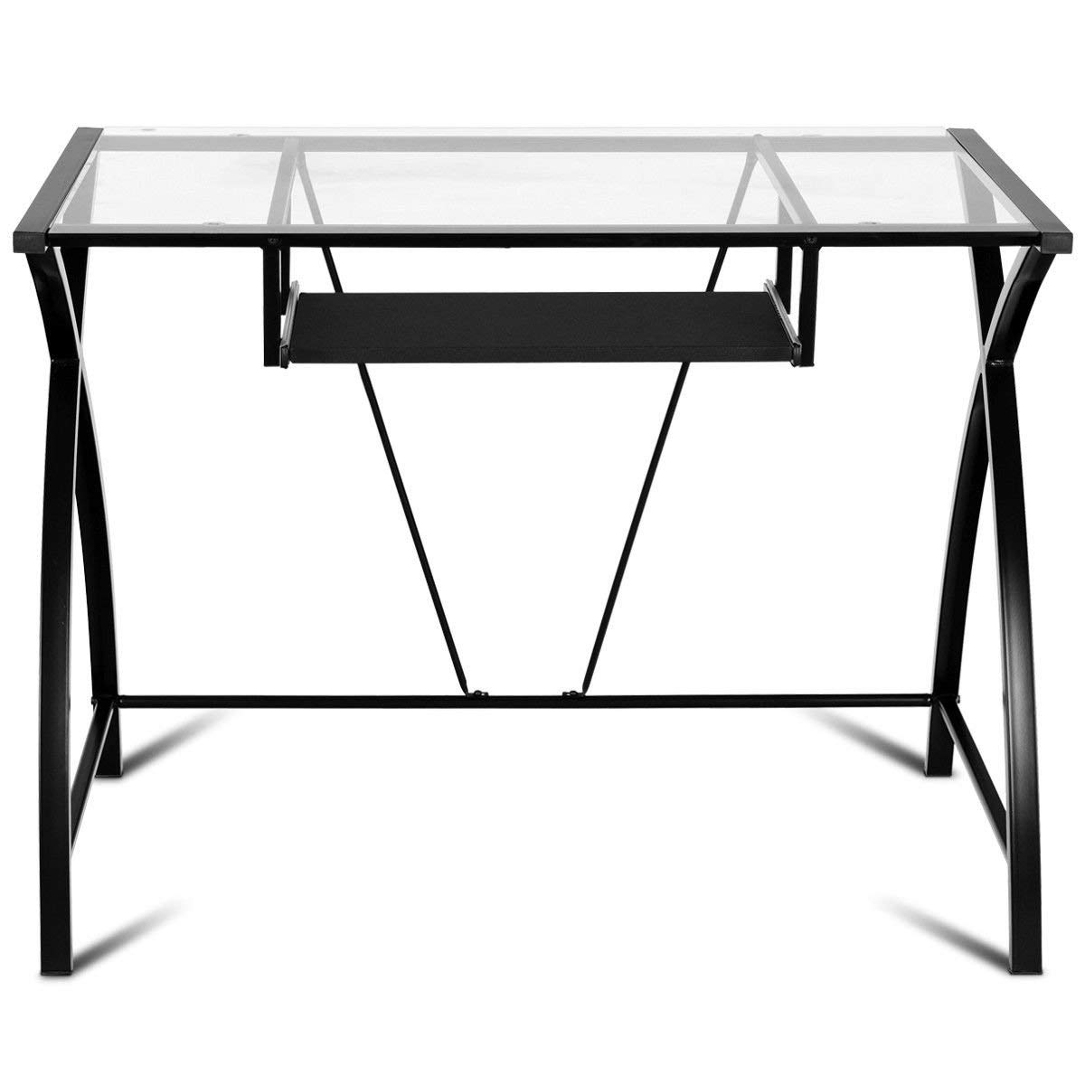 New Clear Glass Top Computer Desk w/Pull-Out Keyboard Tray Home Office Furniture