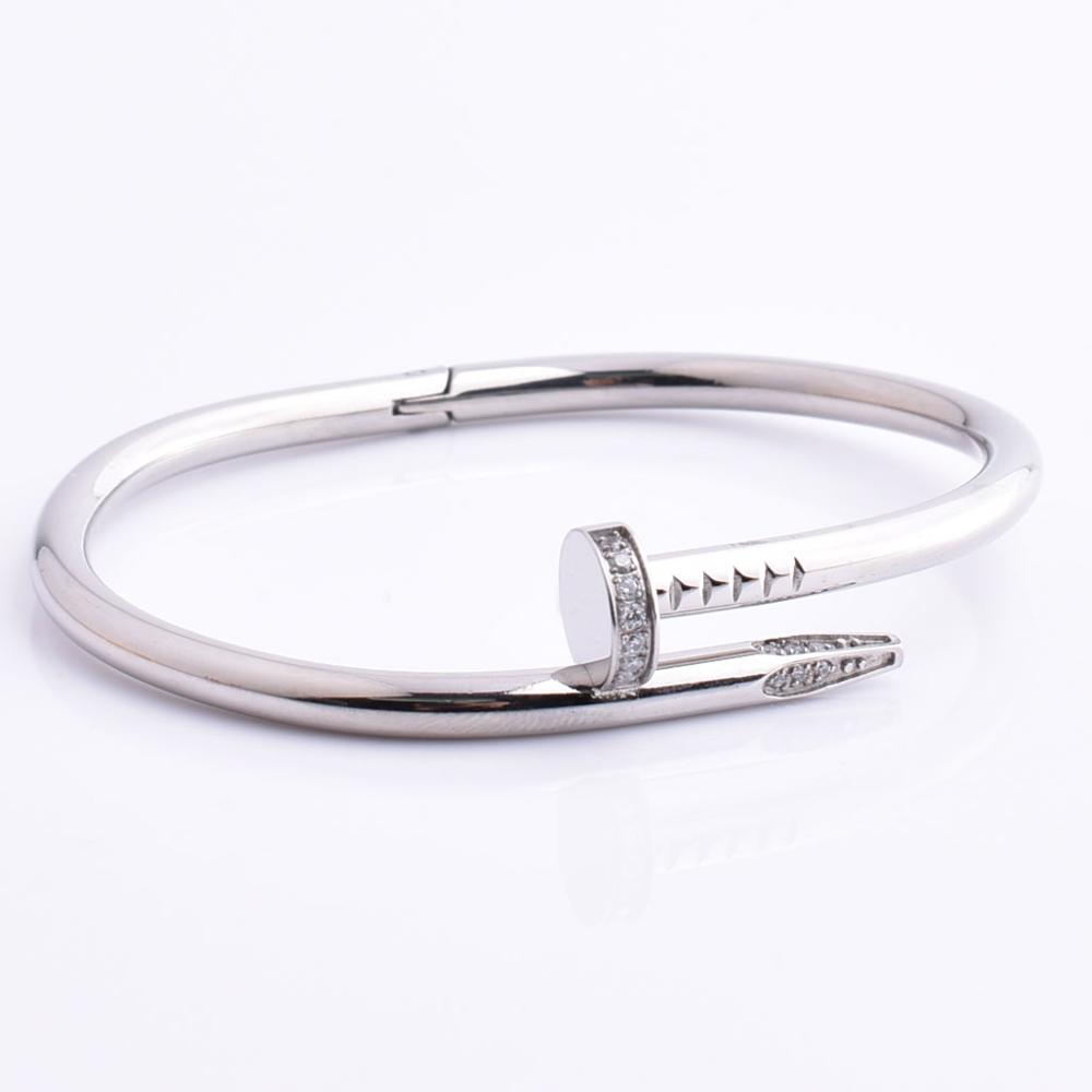 316L Stainless Steel Nail Cuff Men Silver Bangle Bracelet With Small Stone