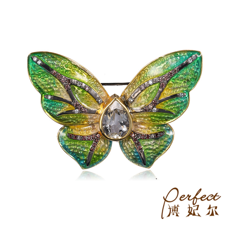 Butterfly Gold Plated 925 Sterling Silver Animal Brooch