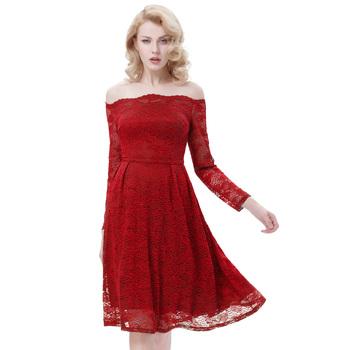 Belle Poque Sexy Women s Retro Vintage Long Sleeve Floral Dark Red Lace  A-Line Swing c17de2d5d7