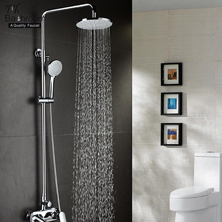Three handle shower chrome Contemporary shower set