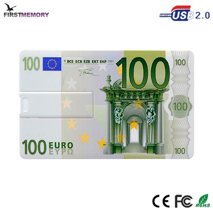 100 euro card style portable large capacity usb flash drive card memory stick 32GB 64GB
