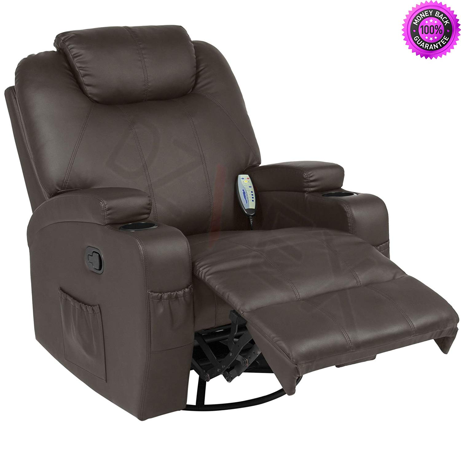 DzVeX__Executive Swivel Massage Recliner w/ 5 Heat Modes, 2 Cup Holders, 92lbs (Brown) And stacking chairs waiting room chairs office furniture chair mats for carpet chairs for sale cheap office